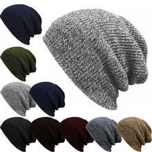 цена на Hip Hop Knitted Cap Women's Winter Hat Casual Acrylic Slouchy Cap Warm Ski Beanie Hats Female Soft Baggy Skullies Beanies Men