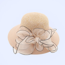 [FCY] new organza lady big hats flower grass hat visor foldable anti-UV summer