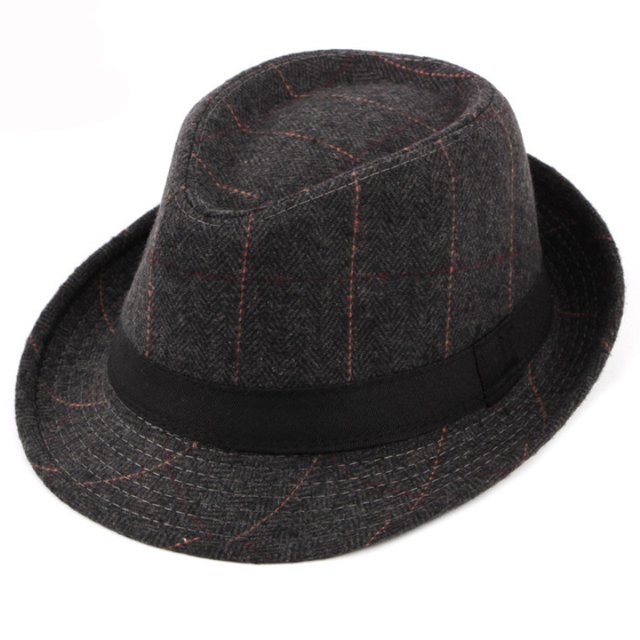 HT1511 Western Style Men Hat Retro Plaid Fedoras 2018 Fashion Derby Bowler  Hats for Men Casual Wool Jazz Hats Trilby Fedora Hats f27880411a1