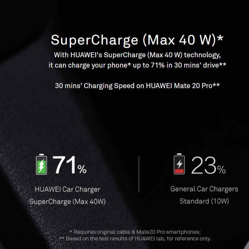 Asli HUAWEI Mobil Cepat Charger Splitter USB 40W Max Keterlaluan Pengisian Cepat untuk Ponsel 10V 4A 9V 2A Tipe C Kabel