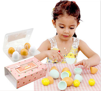 MamimamiHome Baby Puzzle Toys 6pc/1set Wooden Miniature Simulations Cute Small Eggs Children Waldorf Food Toy Kid's Kitchen Toys simulations