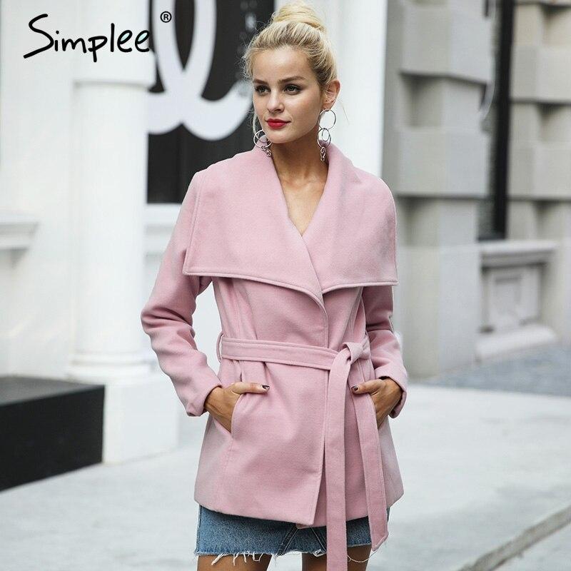 Simplee полушерстяные пояса зимняя куртка женские Повседневное шерстяной жакет женский пальто осень свободные отложной короткое пальто Femme 2017
