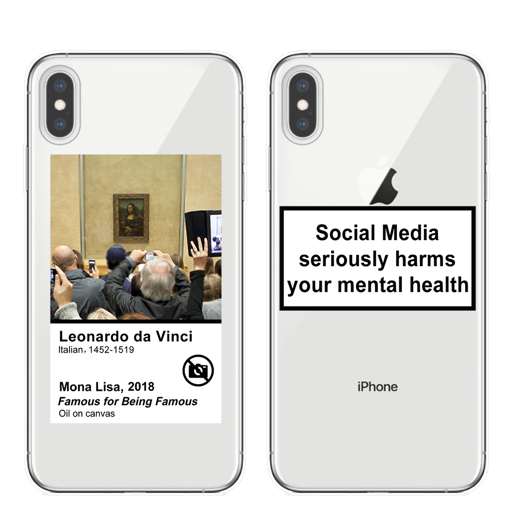 Social Media seriously harms your mental health case for iPhone 11 Pro XS Max X XR 8 7 6 6S Plus 5S SE Funny Mona Lisa Cover image