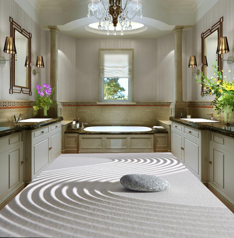 Modern 3d Wallpaper Floor Custom 3d Stereoscopic Pebble