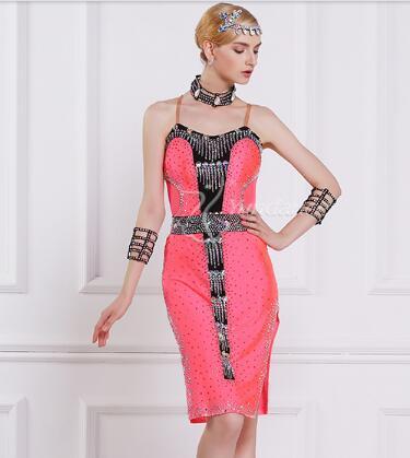 rhinestone pink customize custom back cutout Rumba cha cha salsa tango  Latin dance competition dress 58785ee33644