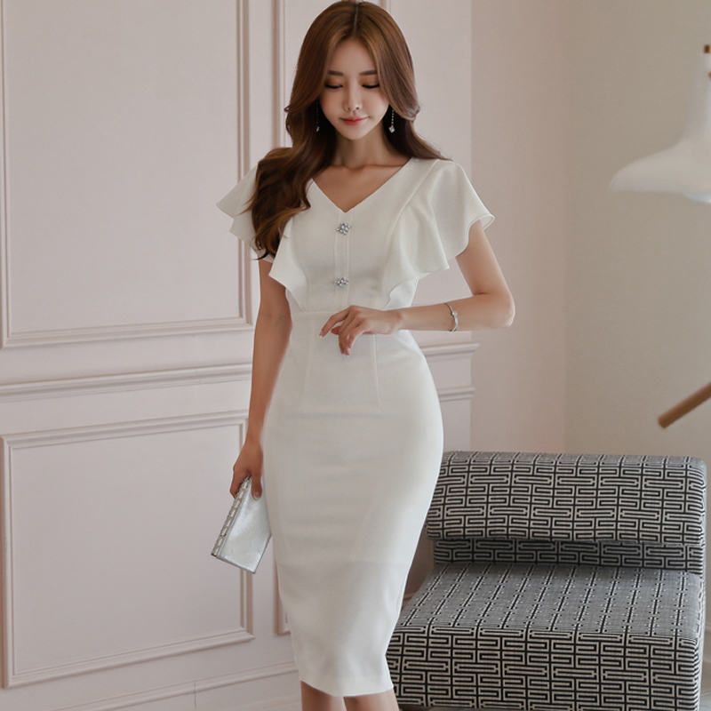 2018 Summer White Butterfly Sleeve V-Neck Women Cloth Knee-Length Solid Pencil Sexy Party Dress