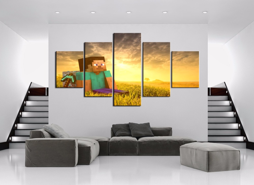 Painting Canvas Wall Art HD Print Painting Decorative Picture Home Living Room Minecraft Game 5 Piece Modern Decorative Artwork in Painting Calligraphy from Home Garden