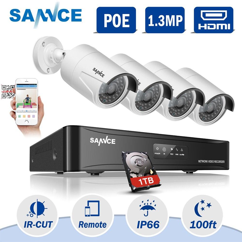 все цены на SANNCE 4CH 960P POE NVR CCTV Camera System 1.3MP IP Network NVR Security Camera IR Outdoor Video Surveillance Kit ITB HDD онлайн