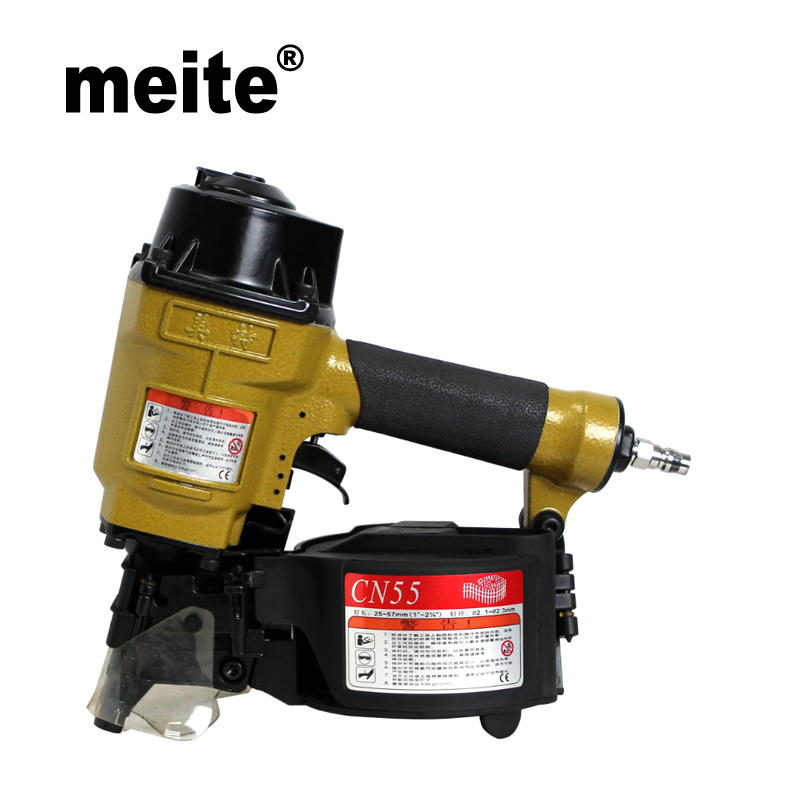 MEITE air coil nailer gun 15 degree coil nail gun tool 2 1/4 pneumatic coil nailer air nailing gun CN55 May.5th update tool high quality cn55 industrial pneumatic coil nailer roofing air nail gun tool