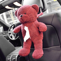 Car Back Seat Hanging Tissue Bag Plush Doll Teddy Bear Shape Hanging Bag For Easy Extract
