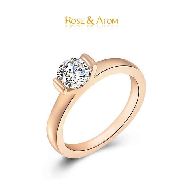 Hot Item Rose Gold Ring For Women Wedding Party Crystal Bride Fashion Jewelry