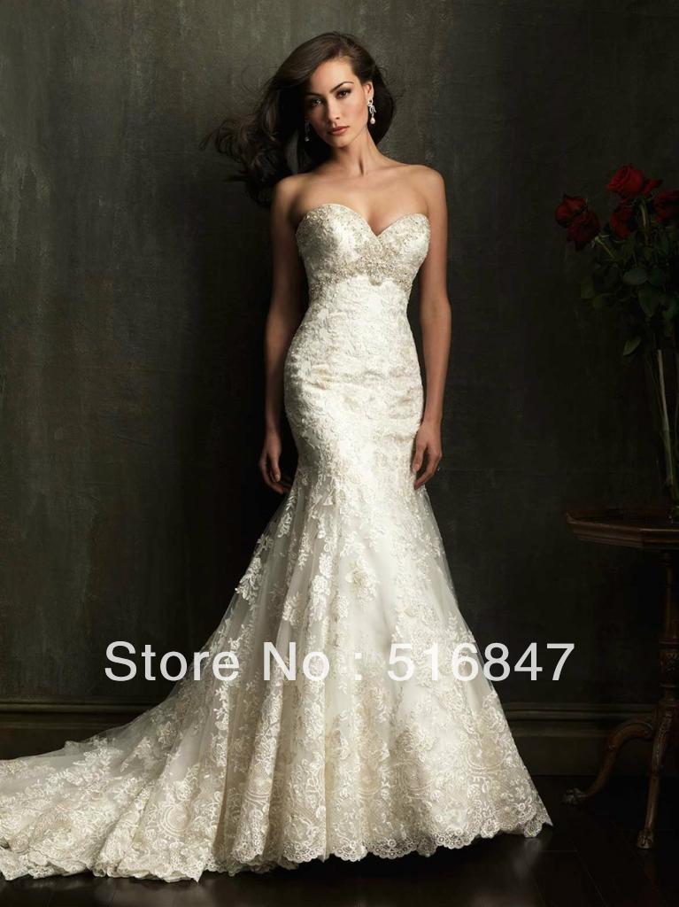 High Quality New Fashion White/ivory Beading Lace Mermaid Wedding ...