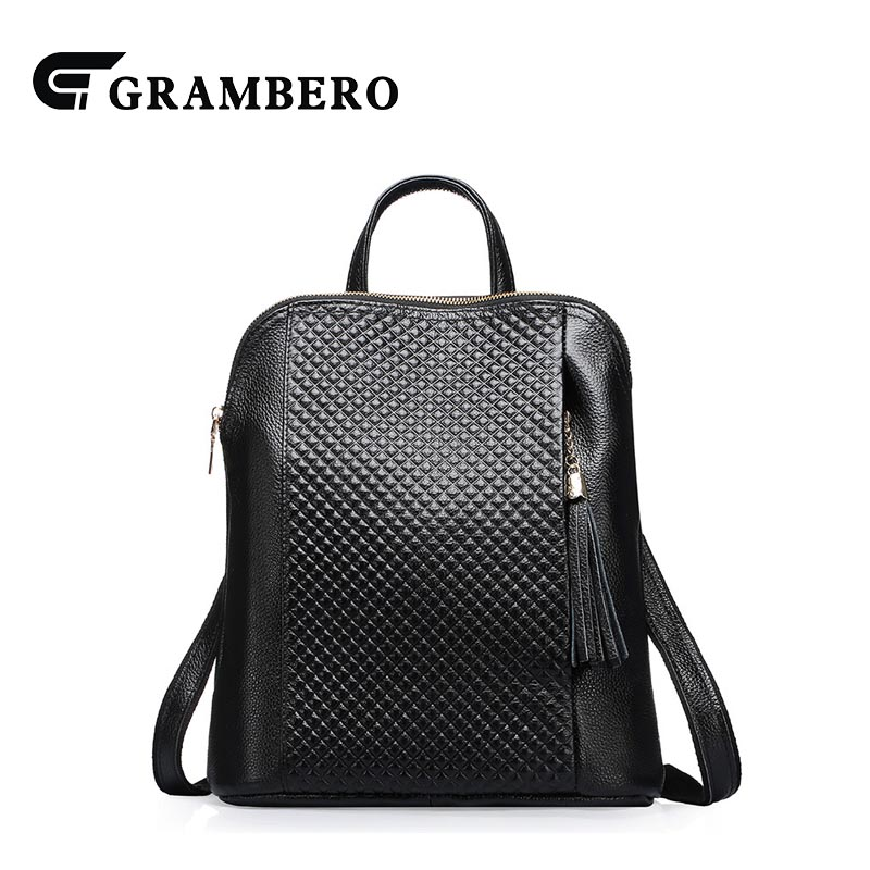 Fashion Solid Color Genuine Leather Backpack Cow Cowhide Leather Tassel Modern Women Shopping Bags for Birthday Gifts School Bag hot sale women s backpack the oil wax of cowhide leather backpack women casual gentlewoman small bags genuine leather school bag