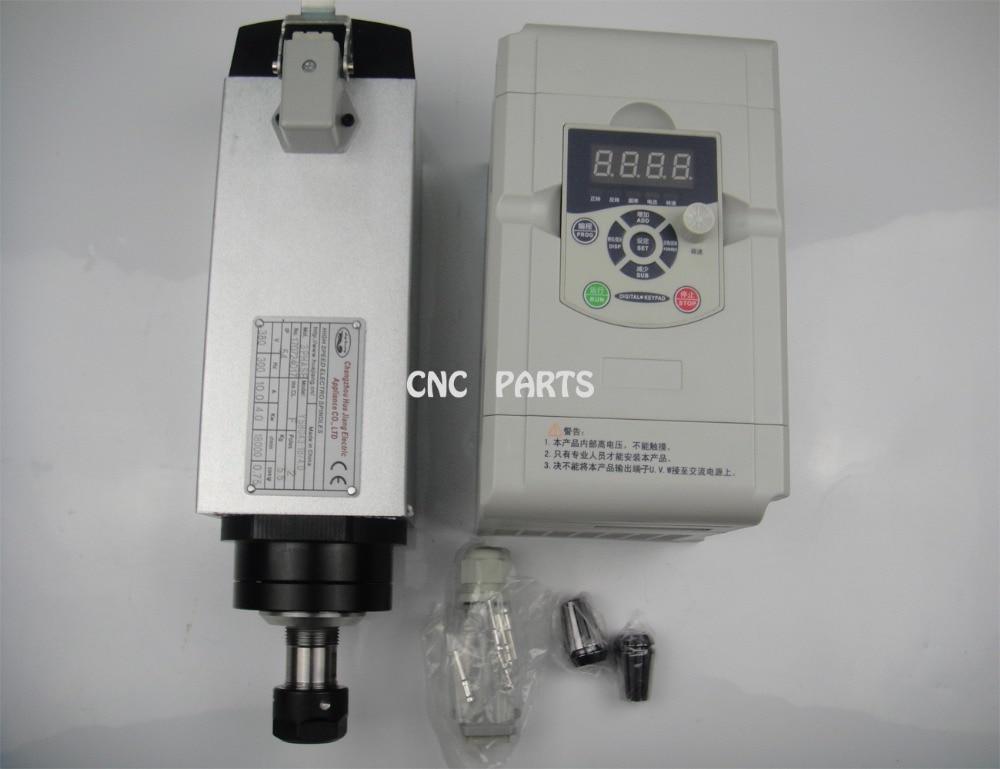 Motore mandrino di fresatura CNC Mandrino raffreddato ad aria Cuscinetti 4KW 4 e controllo della velocità del mandrino del driver a frequenza variabile VFD / inverter 4.0kw