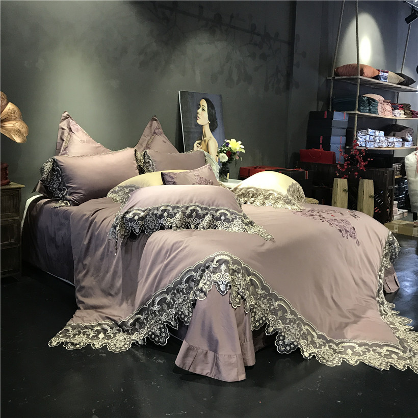 4/7pcs Light Purple Luxury Lace Embroidery Egyptian Cotton Royal Princess Wedding Bedding Set Duvet Cover Bed Sheet Pillowcases