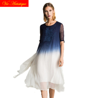 2017 autumn dip dye embroidered dress lanterns sleeves round neck silk women long dresses large size loose blue white