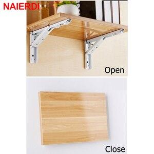 Image 3 - NAIERDI Support dangle triangulaire pliant, Support résistant, fixation murale réglable pour Table en étagère, matériel pour mobilier, 2 pièces