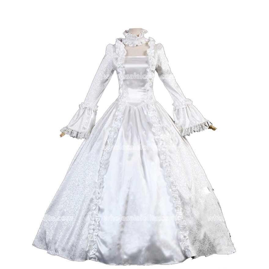 Mondial Livraison Gratuite Victorienne Gothique Période Robe Balle De Scène De Théâtre de Robe Femmes Vintage Blanc Robes Costumes