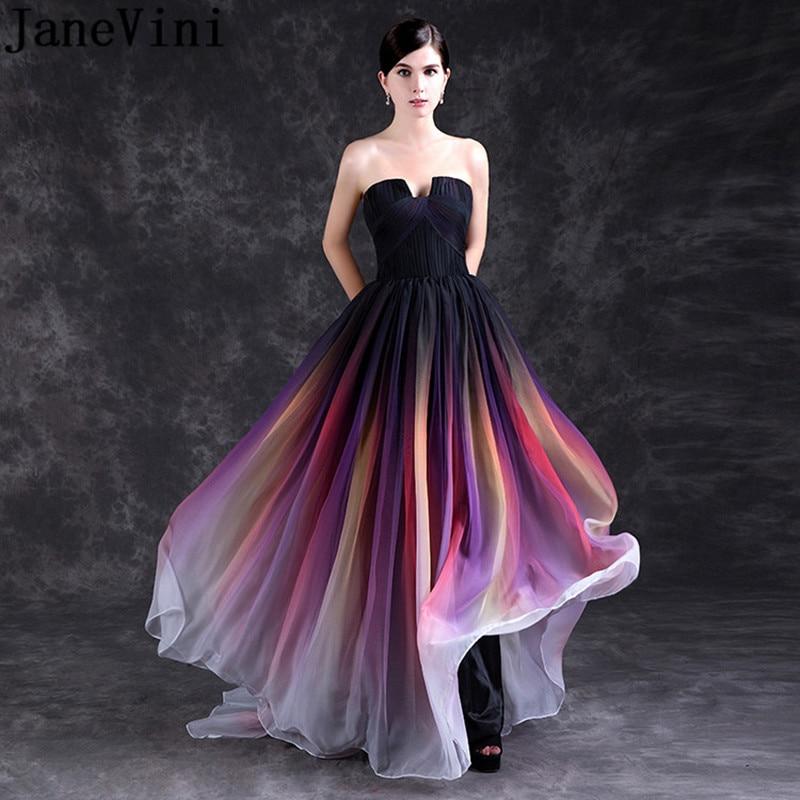 JaneVini 2018 Elegant Gradient Bridesmaid Dress Plus Size Long Strapless Colorful Prom Wedding Party Chiffon Dress Abendkleider