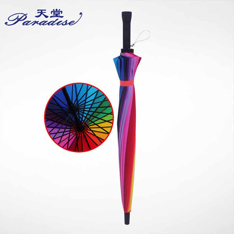 f22547f96cf61 ... 24K Semi-automatic Rainbow Big Umbrella Windproof Fashion Biggest Long  Handle Straight Colorful Rainbow Pencil ...