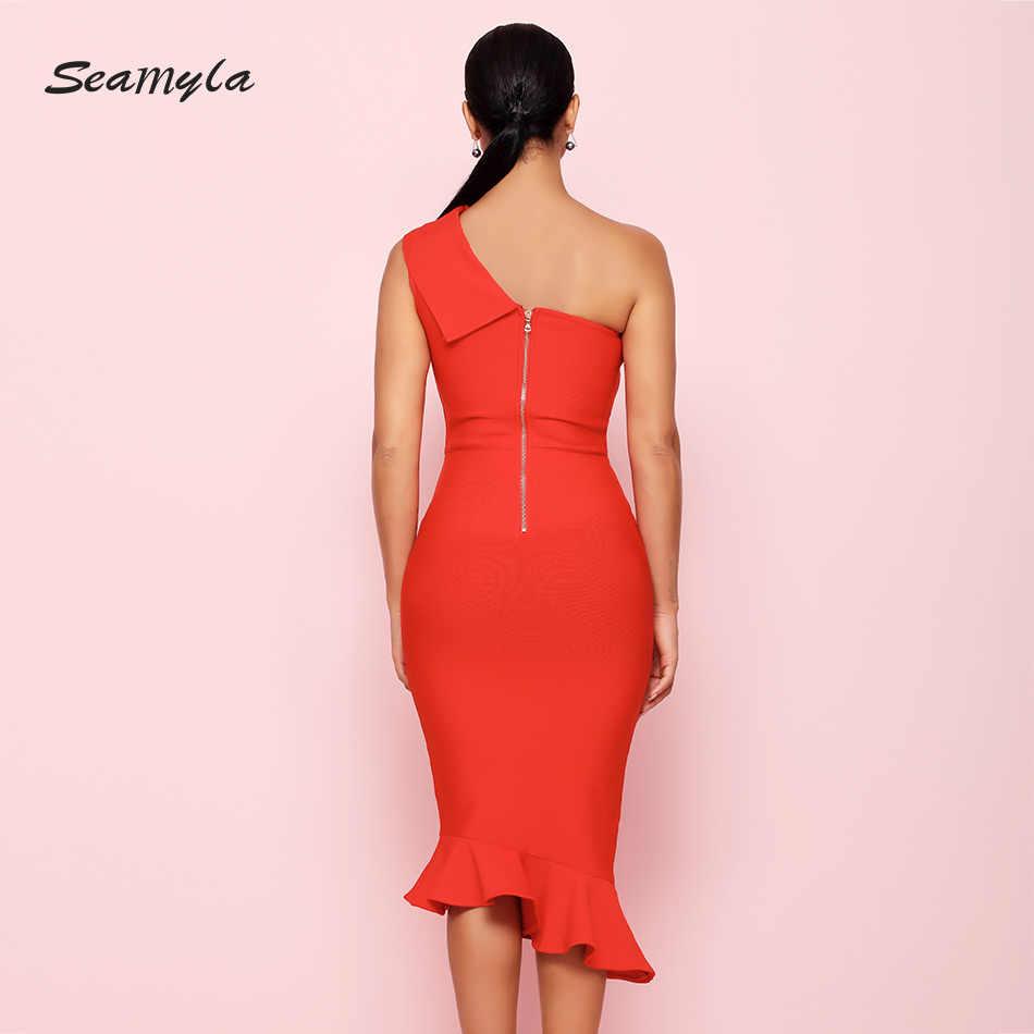 Seamyla 2019 новый летний Бандажное платье Vestidos элегантная плиссированная юбка знаменитости вечерние платье Для женщин пикантное платье на одно плечо платья для ночной жизни