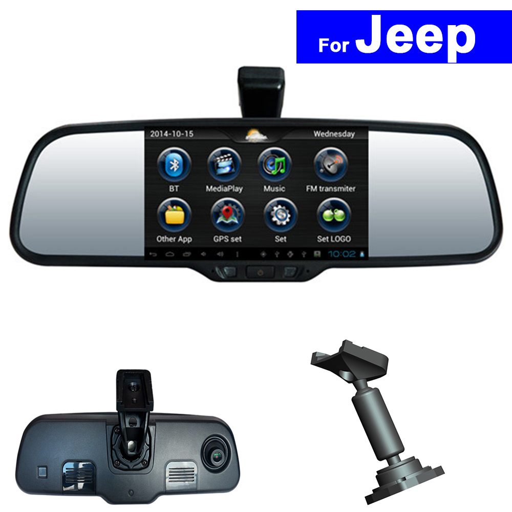 Touch Screen Car Rear View Mirror DVR GPS Bluetooth WIFI for Jeep Compass Wrangler Patriot Grand Cherokee Android Auto Monitor 8 4 inch gps navigation screen steel protective film for jeep grand cherokee srt compass 2017 2018 control of lcd screen sticker
