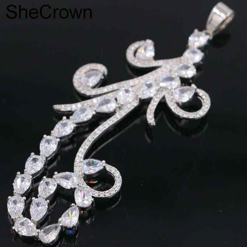 Fantastic ยาวสีขาว Sapphire ผู้หญิงงานแต่งงานจี้เงิน 83x34 มม.