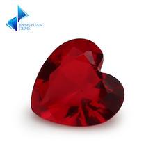 Размер 3x3 ~ 12x12мм граната формы сердца Свободно сидящий стеклянный