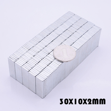 где купить 20Pcs 30x10x2 mm Neodymium Magnet super powerful neodymium magnets free shipping N35 rare earth magnet for crafts 30*10*2 mm дешево