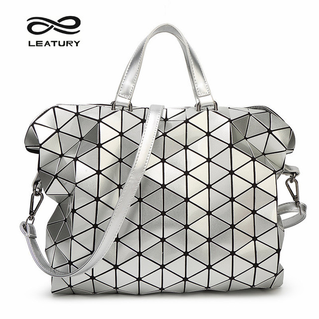 Leatury Designer Handbags New Women Bag Geometry Sequins Saser Quilted  Plaid Folding Bag Lattice briefcase Shoulder Bags b2d9474ffd3df