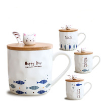 11 OZ 350 ml Creative Cat Eat Fish Milk Mug with Wooden Lid and Spoon Coffee Cup Novelty Home Decor DEC364