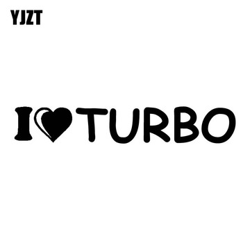 YJZT 10.2CM*1.7CM I LOVE TURBO Car Sticker Funny Stance Turbo Boost Vinyl Decals Black/Silver C10-00904 image
