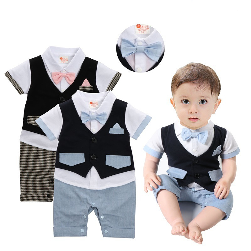 2018 Summer baby boys vest rompers fashion gentlmen climbing clothes party infant cotton jumpers new kids plaid rompers 18M06