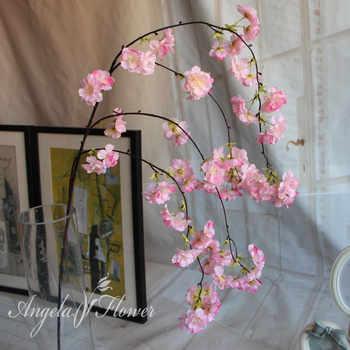 7pcs/lot Natural vertical silk cherry blossom flower vine DIY wedding Christmas decor Cherry tree artificial flower bouquet 92cm