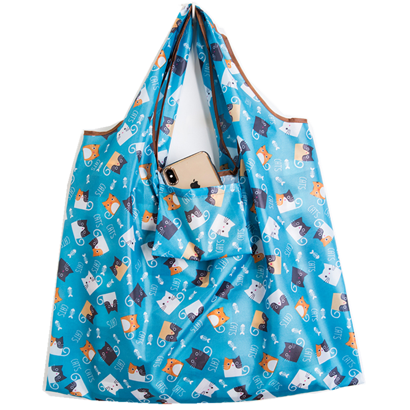 Cartoon New Women Tote Shopping Bag Lady Foldable Oxford Cloth ECO Reusable Fruit Grocery Pouch Recycle Organization Bag