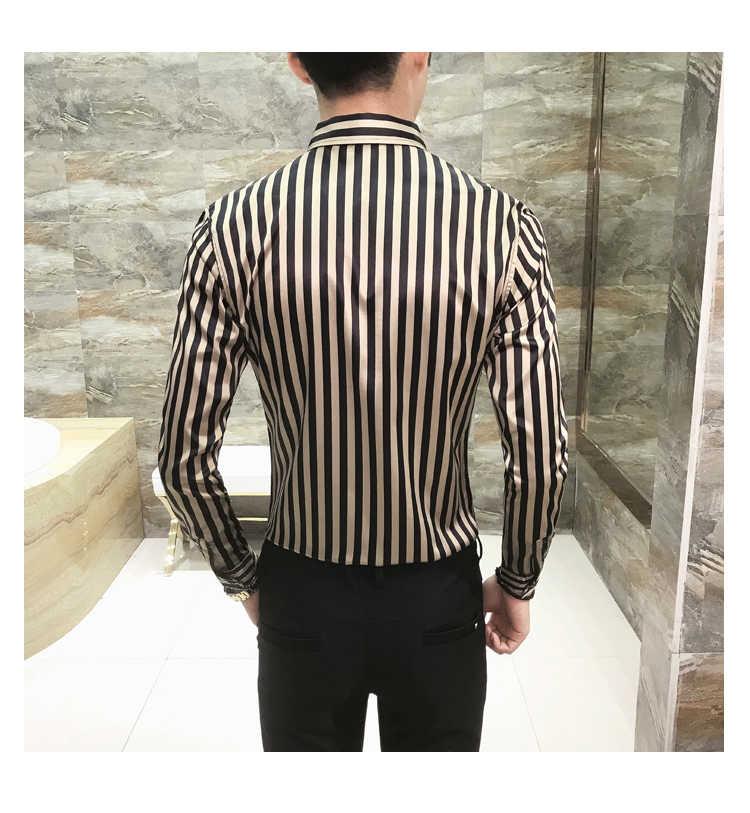 45da4d060a2 ... Золото полосатый Для мужчин рубашка Camisa Masculina модная одежда с длинными  рукавами Бизнес Повседневное рубашки Осень ...