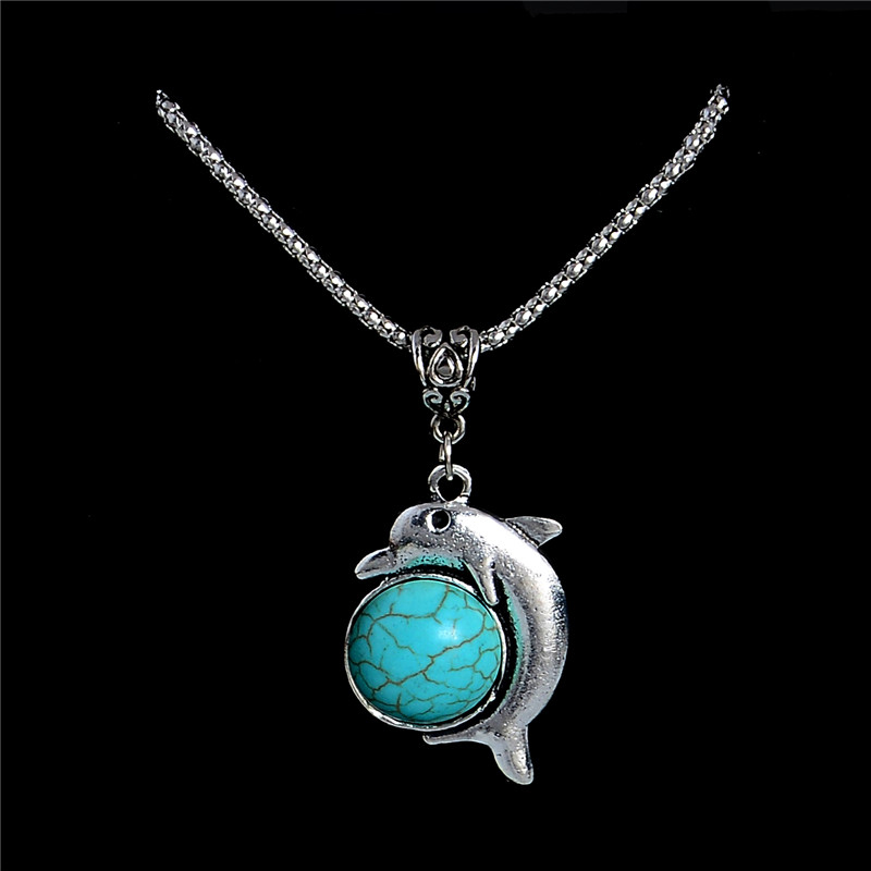 Qcooljly fashion stone statement necklace vintage tibetan silver qcooljly fashion stone statement necklace vintage tibetan silver chain dolphin pendant necklace animal style fine jewelry in pendant necklaces from jewelry aloadofball Choice Image