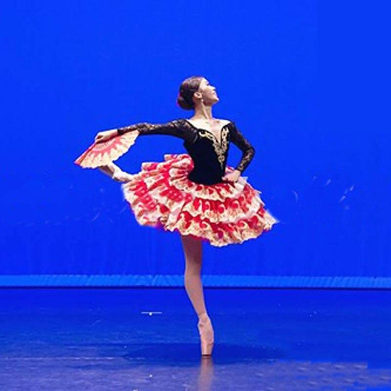 Femmes Adulte Noir Rouge Professionnel Ballet Tutu Costume Don Quichotte Ballet Tutus Jupe Classique Ballerine Stade Costume Personnalisé