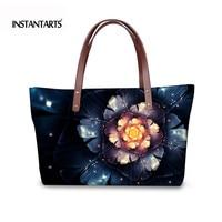 INSTANTARTS 3D Unique Floral Print Women Top Handle Bags Luxury Designer Handbags For Ladies Large Capacity