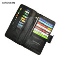 European Style Genuine Leather Wallet with Multi Card Cases for Men Black Clutch Purses Vertical Long Fashion Men Wallets