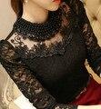 2016 Nova moda Plus Size Camisas das Mulheres Estande Colar de Pérolas rendas de croché blusa camisas manga comprida sexy tops mulheres clothing 3XL