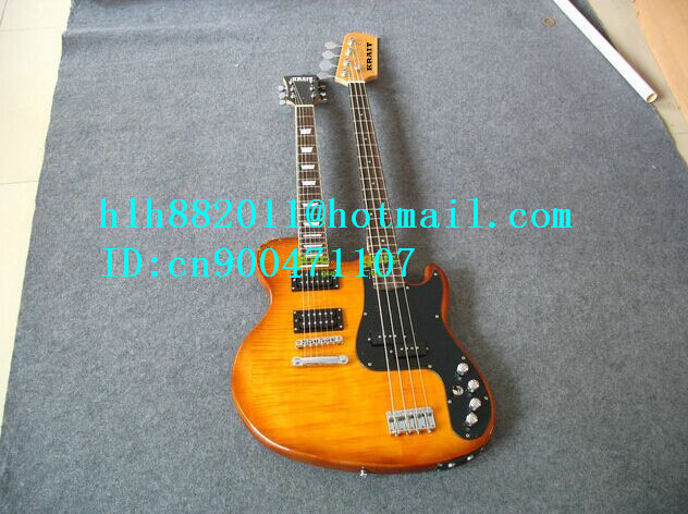 free shipping double neck electric guitar and bass with rosewood fingerboard in orange +foam box