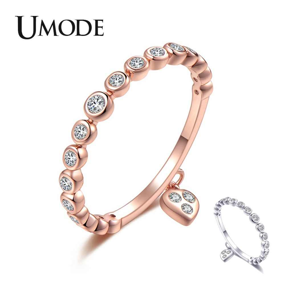 UMODE Wedding Rings Crystal Heart Fashion Jewelry Lover Zircon Engagement Ring For Women Silver Gold Color Wholesale UR0461