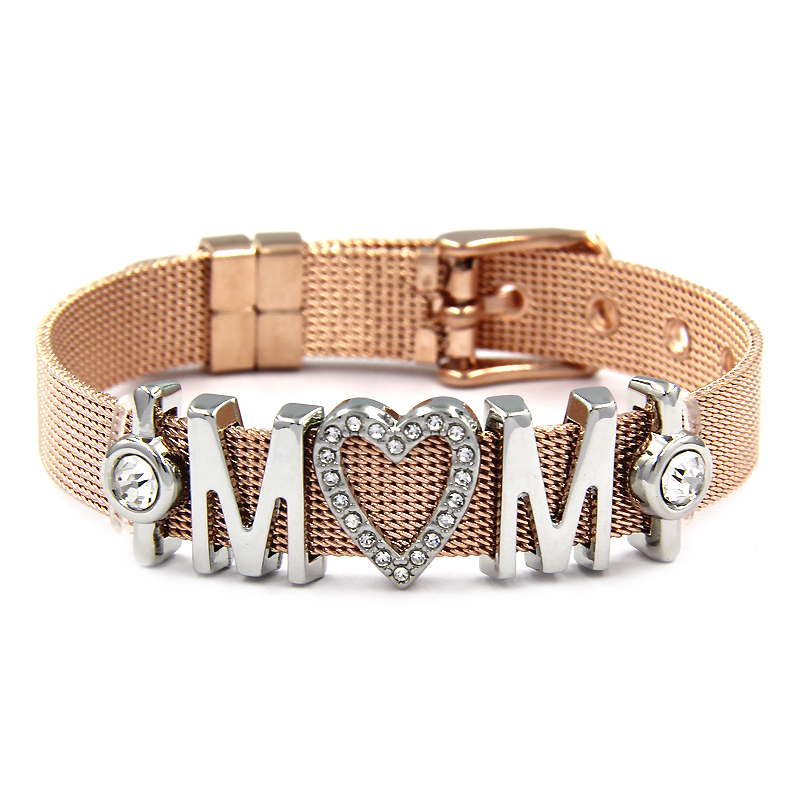 Bangles Crystal Love MOM Heart Slide Charms Bracelets 1