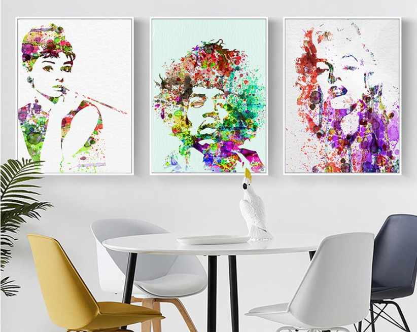 Modern Abstract Pop Style Marilyn Monroe Audrey Hepburn Decorative Painting Bedroom Living Room Canvas Painting Wall Art Poster
