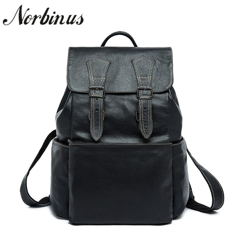 Norbinus Men Genuine Leather Backpack Cowhide Luxury Trend Designer Daypack School Bags for Teenager Boys Male Travel Backpacks