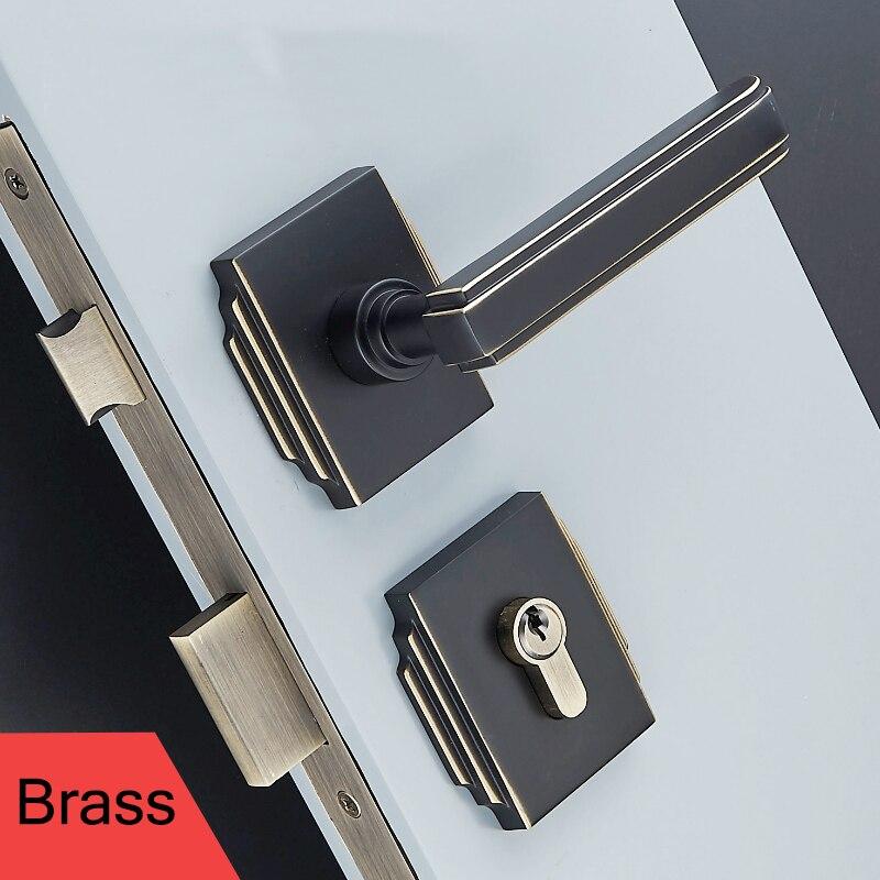1 ensemble poignées de porte intérieure en laiton massif pour portes 35-50mm poignée de Style européen avec accessoires de serrure JF1924