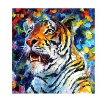 handmade Knife oil painting Tiger Painting Powerful Wall Art Decoration