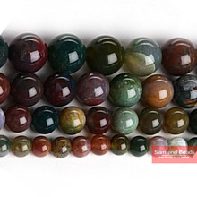 "Natural Stone Smooth Round Indian Agata Beads Pick Siz 16"" 4-14mm For Bracelet Necklace Making IAB01(China)"