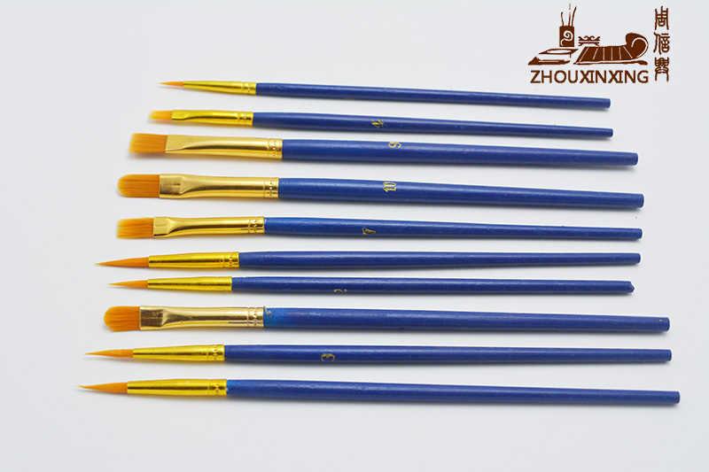 10 Pcs/set Multifungsi Anak Pelajar Air Guas Lukisan Pen Nilon Rambut Gagang Kayu Kuas Cat Menggambar Perlengkapan